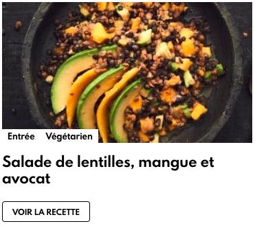 salade lentilles avocat mangue