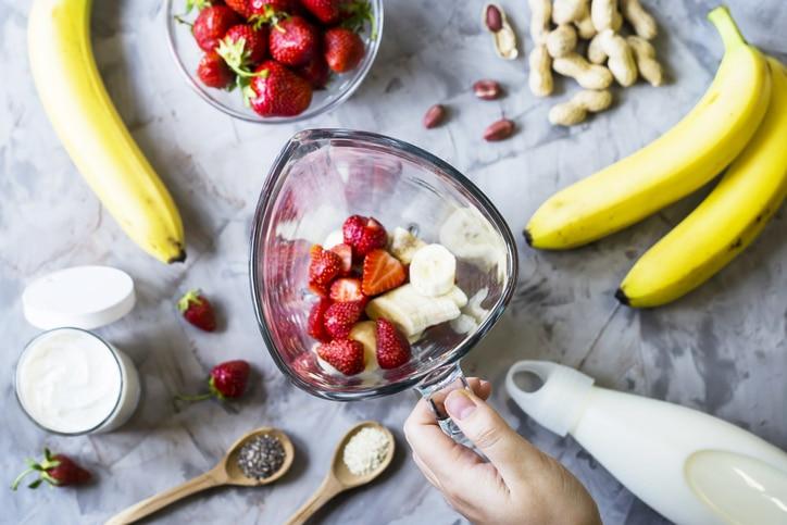 milkshake fraises beurre de cacahuète