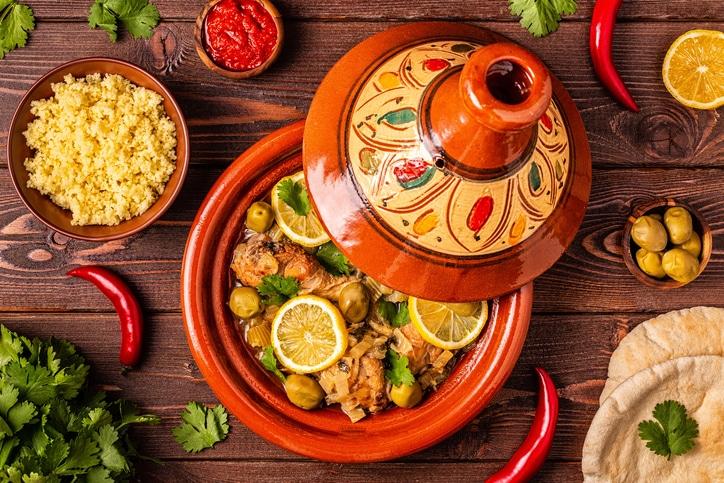 tajines de poulet au citrons confits et olives