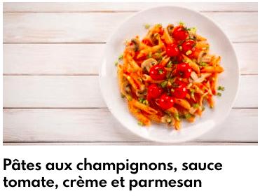 pâte sauce tomate champignons