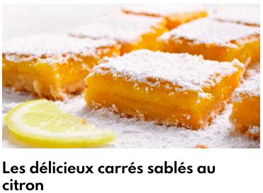 carrés sablés au citron