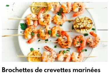 brochette de crevettes marinées
