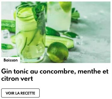 gin tonic concombre, menthe et citron vert