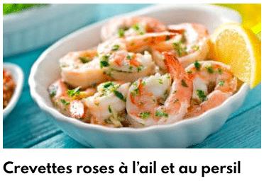 crevettes roses à l'ail et persil