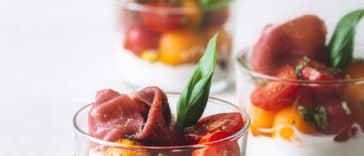 verrines melon jambon cru ricotta