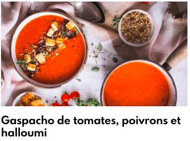 gaspacho tomates poivrons halloumi