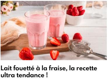 lait fouettée fraise