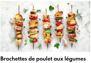 brochettes de poulet aux légumes