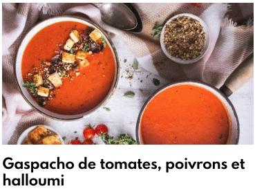 gas pacho de tomate au halloumi