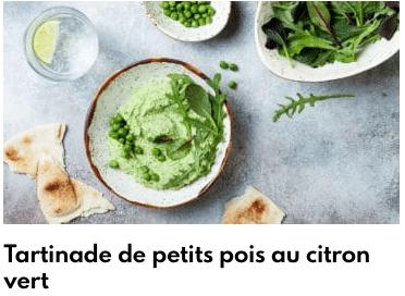 tartinade de petits pois au citron vert
