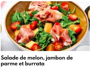 salade melon burrata jambon de parme