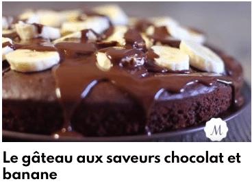 gâteau saveur chocolat banane