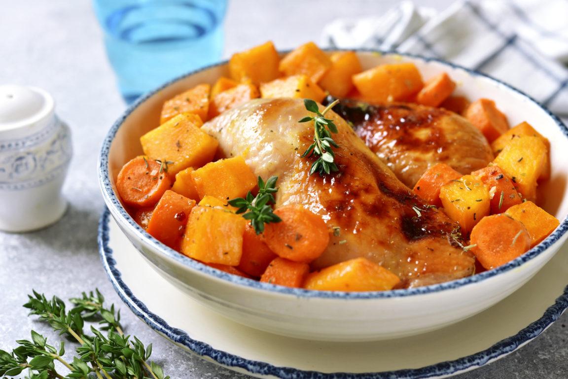 Poulet caramélisé miel carottes