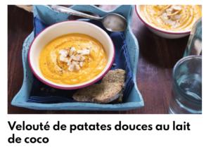 Velouté patate douce lait de coco
