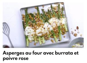 asperge au four avec burrata et poivre rose