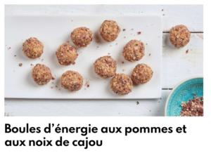 Boule d'énergie aux pommes et noix de cajou
