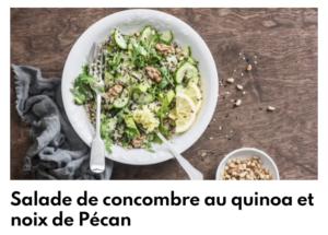 Salade de concombre au quinoa et noix de pécan