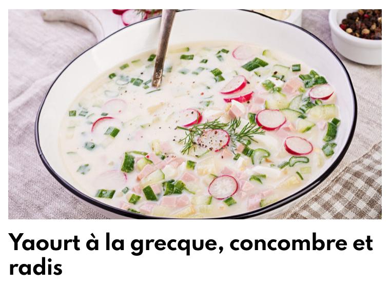 Yaourt à la greque, concombre et radis
