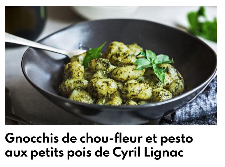 Gnocchis de chou fleur et pesto de petits pois