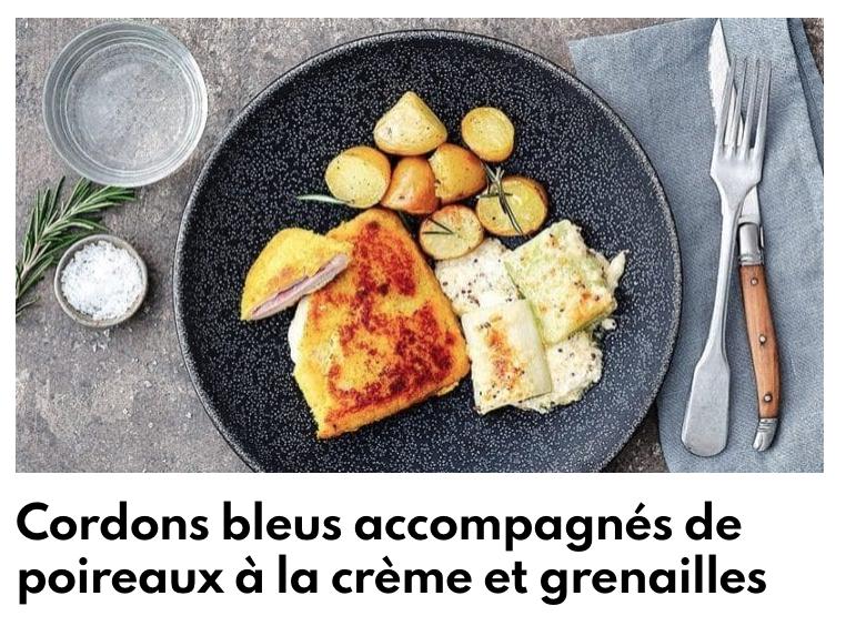 Cordon bleu, poireaux à la crème et grenailles