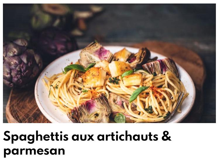 Spaghettis artichauts et parmesan