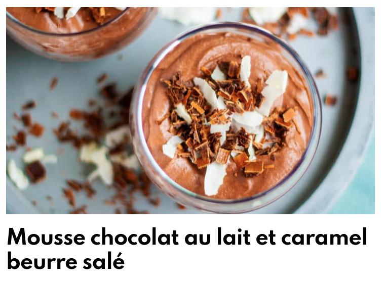 Mousse chocolat au lait et caramel beurre salé