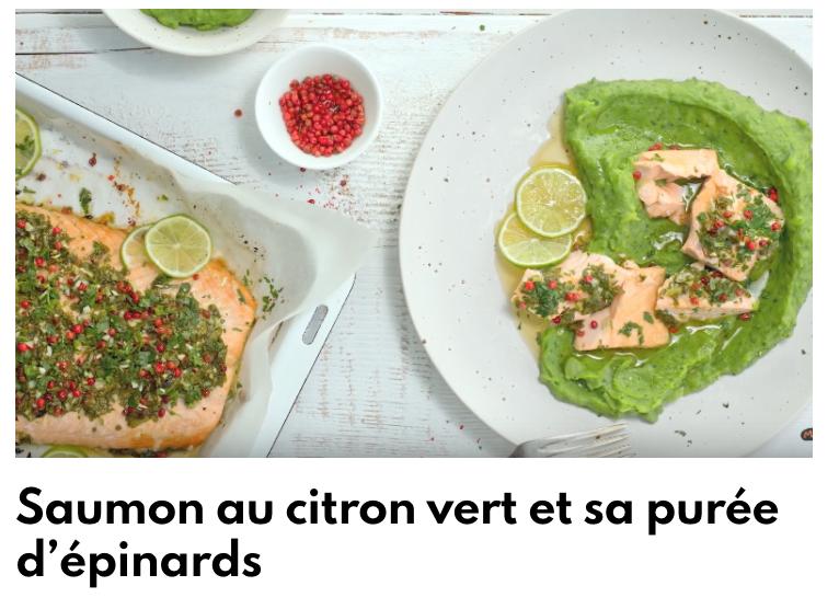 Saumon au citron vert et sa purée d'épinards
