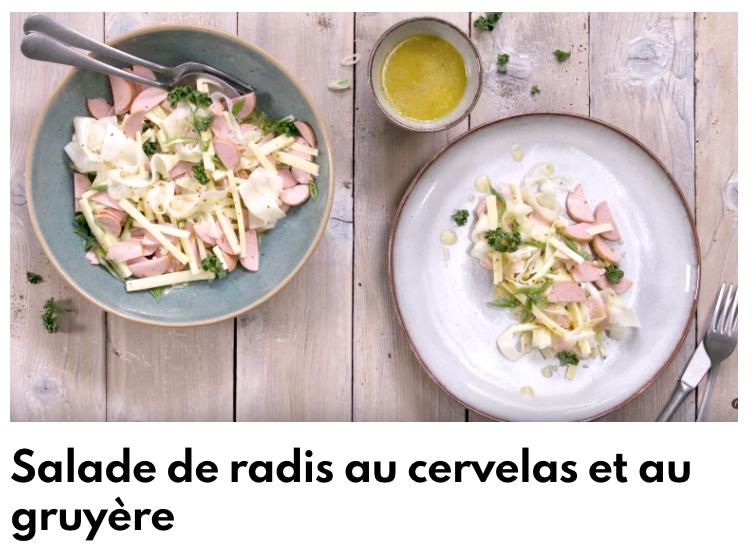 Salade de radis au cervelas et gruyère