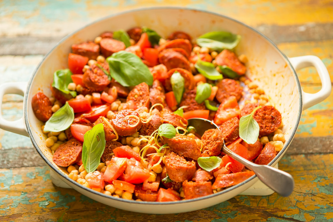 Salade pois chiche chorizo et tomates