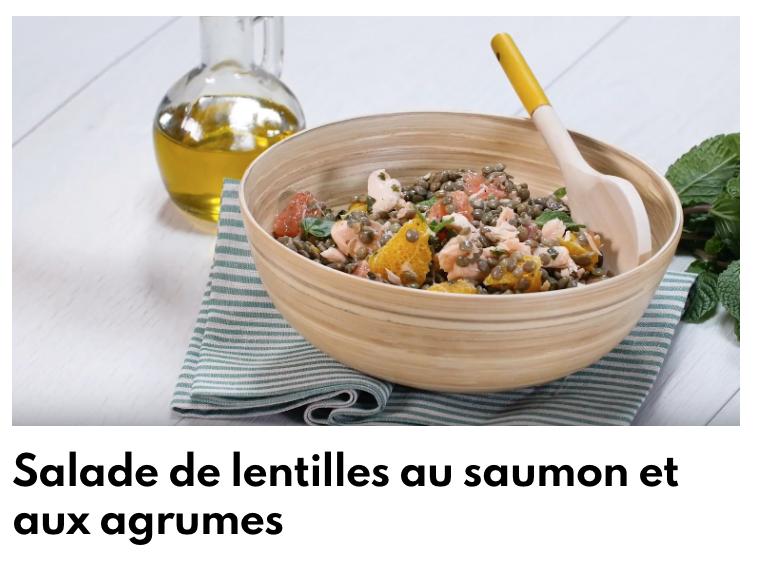 Salade de lentilles au saumon et agrumes
