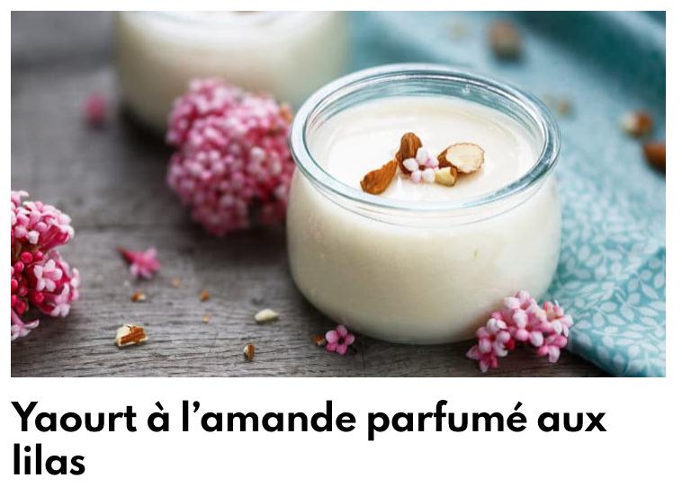 Yaourt à l'amande parfumé au lilas