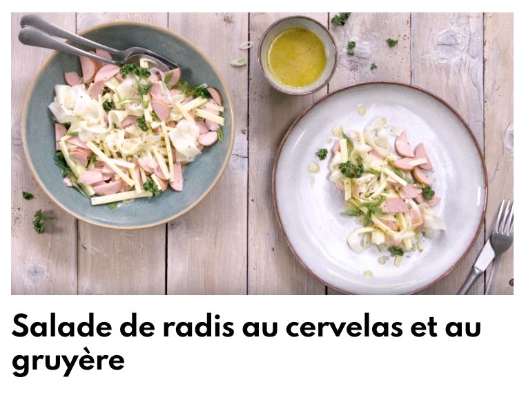 Salade de radis au cervelas et au gruyère