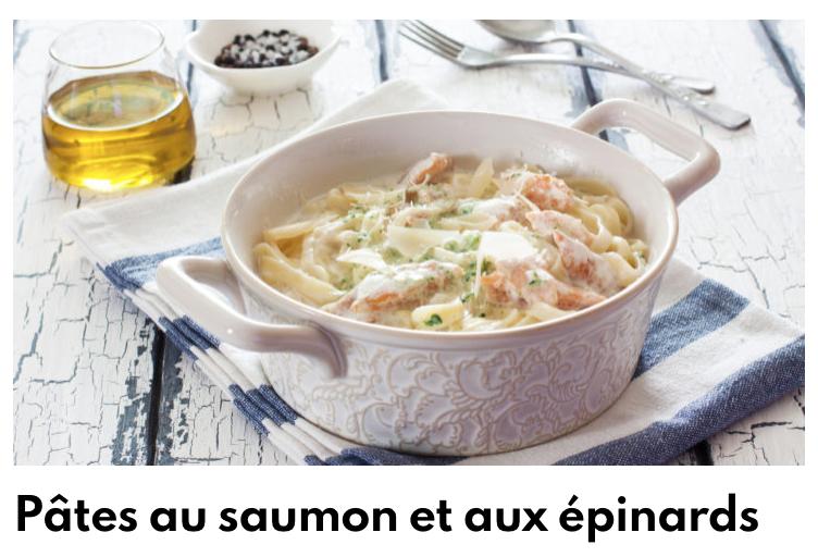 Pâtes saumon épinards