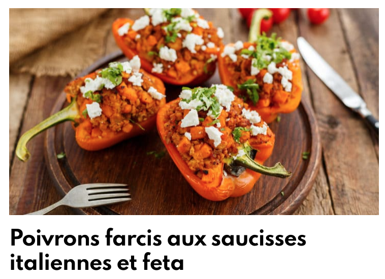 Poivrons farcis aux saucisses italiennes et feta