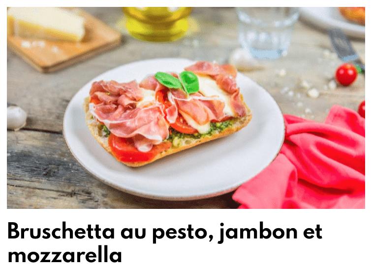 Bruschetta pesto jambon tomate mozza
