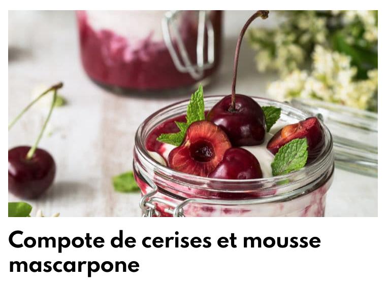 Compote de cerises et mousse mascarpone
