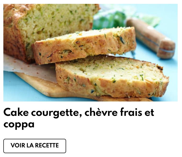 Cake courgette, chèvre frais et coppa
