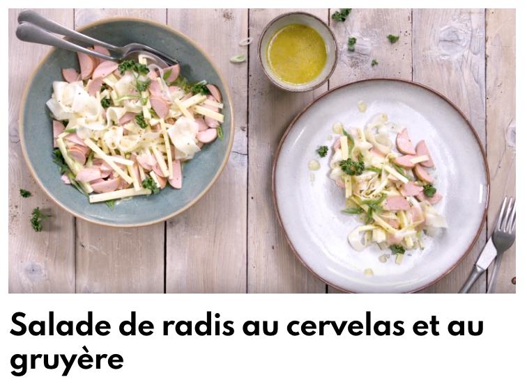 Salade de radis au cervelas gruyère
