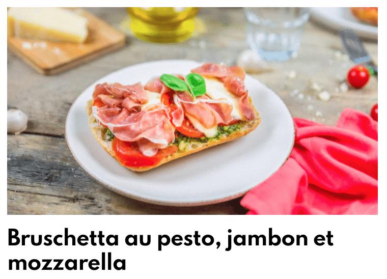 bruschetta au pesto, jambon mozza
