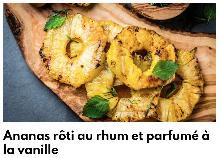Ananas rôti au rhum