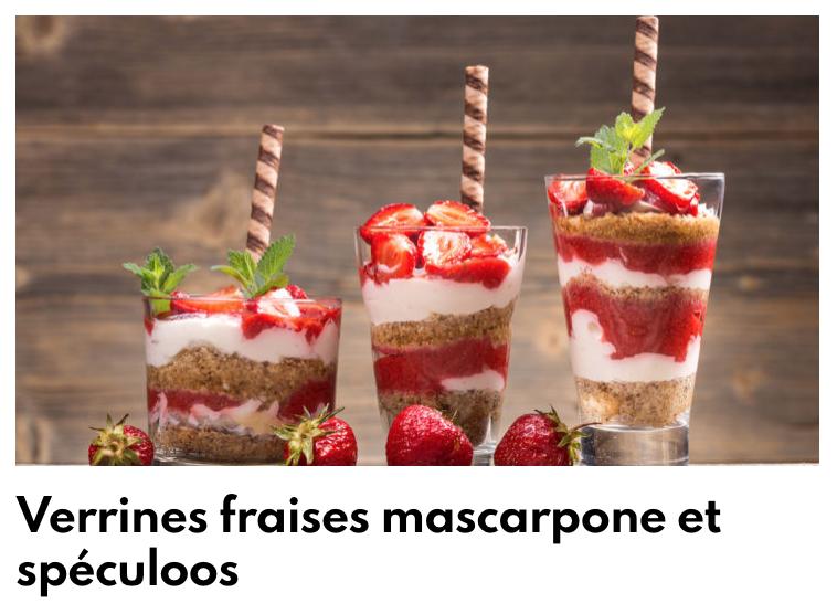 Verrines fraises mascarpone speculoos