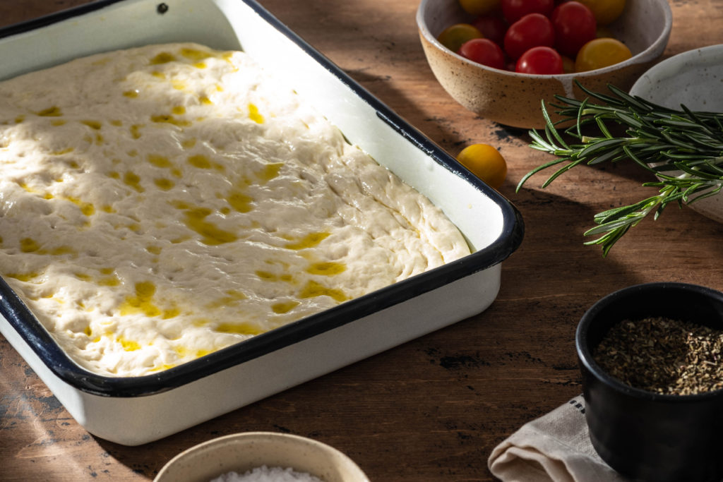 Pâte à focaccia tomates olives