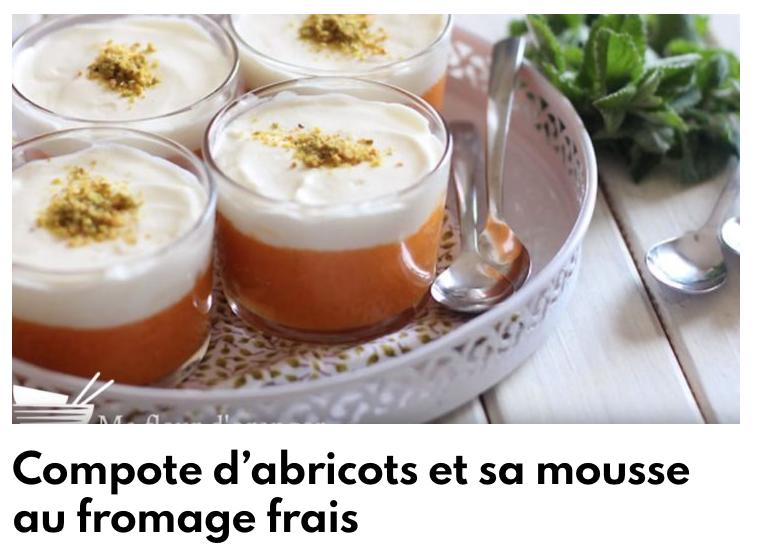 Compote abricot et sa mousse fromage frais