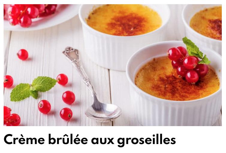 Crème brulée groseilles