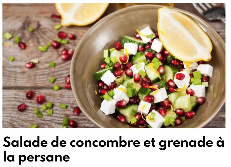 Salade de concombre et grenade