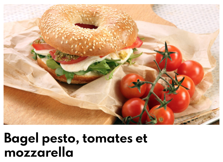 Bagel pesto tomates mozza