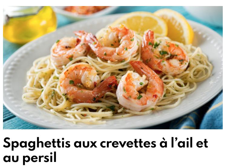 Spaghettis crevettes à l'ail et persil