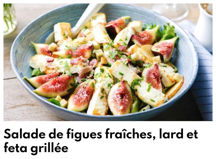 Salade de figues, lard et feta