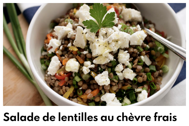 Salade de lentilles au chèvre frais