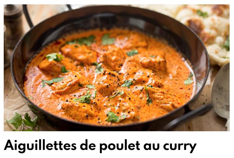 Aiguillettes de poulet sauce curry